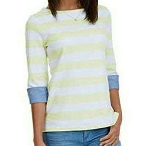 Nautica - Yellow & White Chambray Cuff Shirt - EUC